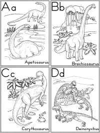 dinosaurs alphabet coloring flash cards