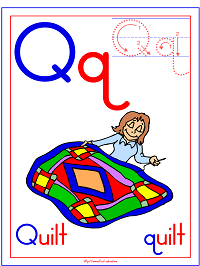 photo relating to Letter Q Printable named Alphabet Letter Q Quilt Preschool Lesson Software Printable