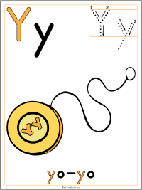 Alphabet Letter Y Yo-yo Preschool Lesson Plan Printable Activities and Worksheets