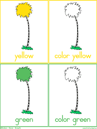 Colorful Trees Flash Cards Color Words Worksheets Preschool Lesson Plan Printable Activities Dr Seuss The Lorax