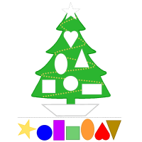 christmas tree fun with colors and shapes preschool printable activity