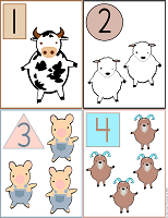 printable flash cards 1 to 4 farm animals