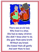 there was an old woman who lived in a shoe poster