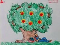 Apple tree and Johnny Appleseed crafty coloring page project