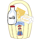 dairy products basket craft and recipe cards