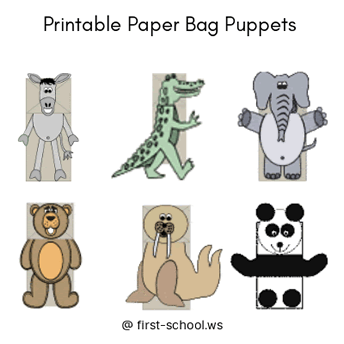 photograph about Printable Paper Bag Puppets referred to as Paper Bag Puppets Crafts for Preschool and Kindergarten
