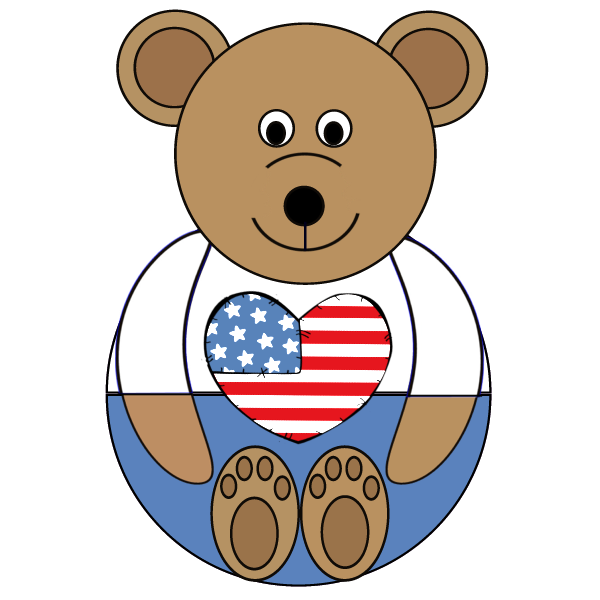 Bear or Teddy Bear U.S.A. Patriotic Printable Craft Preschool Printable Activity
