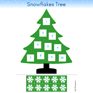 Winter Tree Snowflakes and Numbers 1 to 10 Preschool Lesson Plan Printable Activity